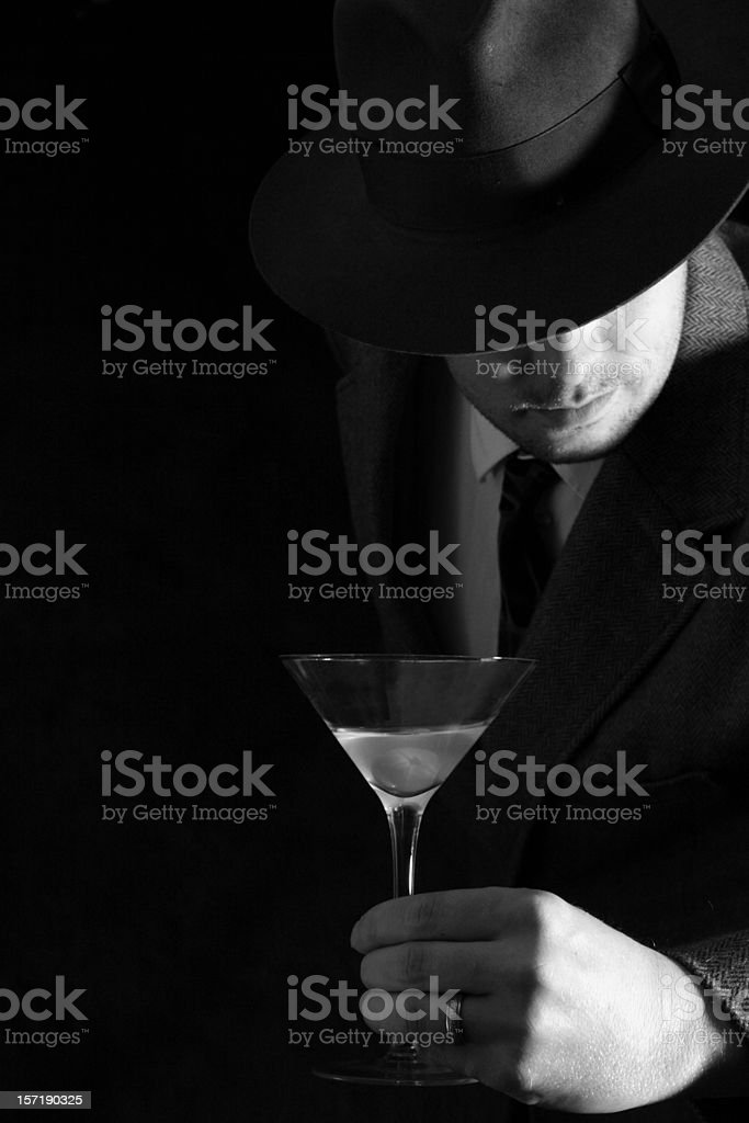 Man enjoys Martini stock photo