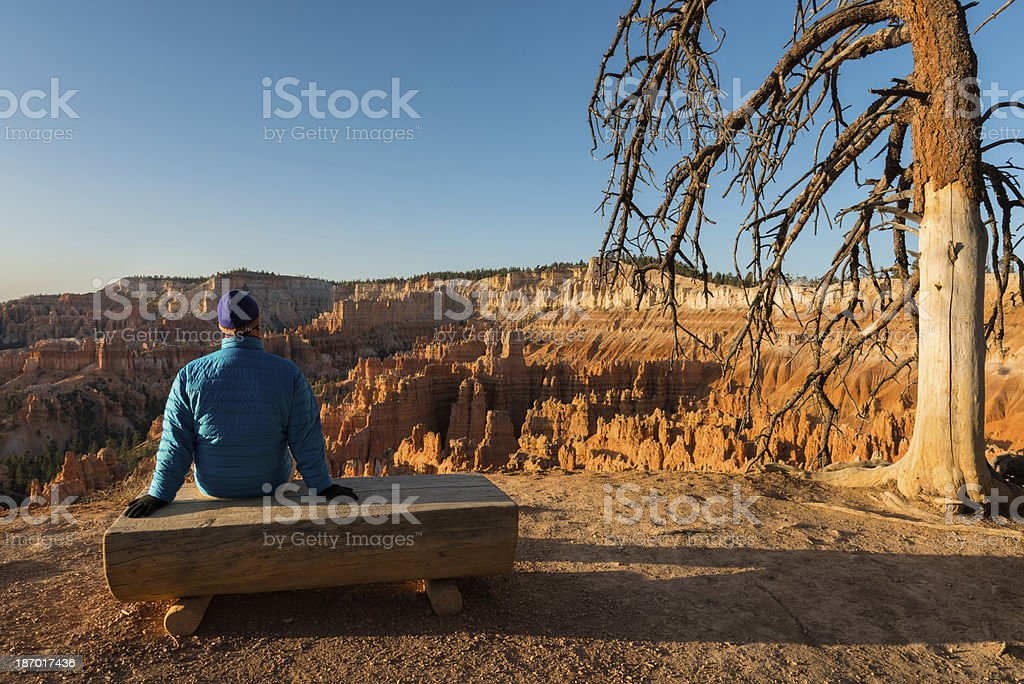 Man Enjoys Scenic View on Bench Bryce Canyon royalty-free stock photo