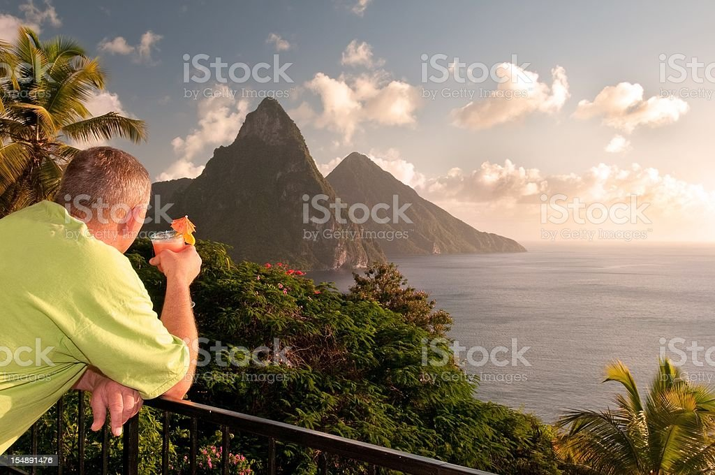 Man enjoys St. Lucia Twin Piton view royalty-free stock photo