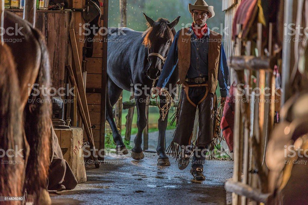 Man entering in barn stock photo