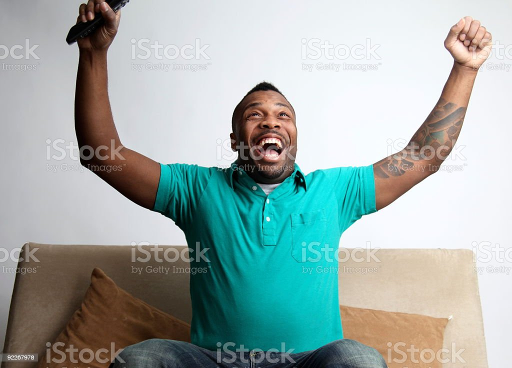 Man Excited About the Television royalty-free stock photo