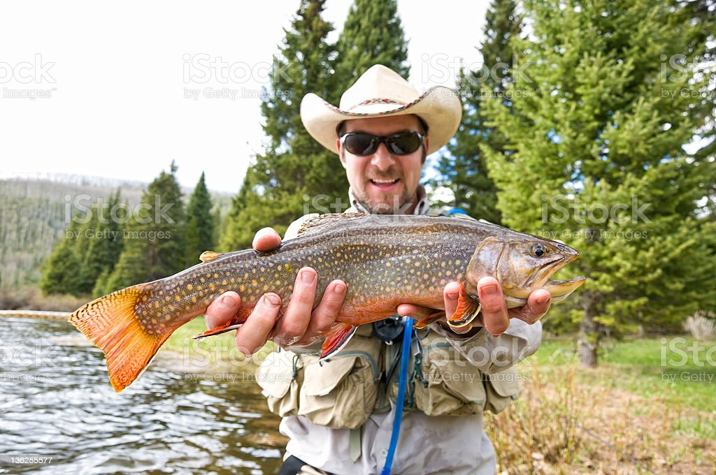 Man Excited Holds Large Brook Trout stock photo
