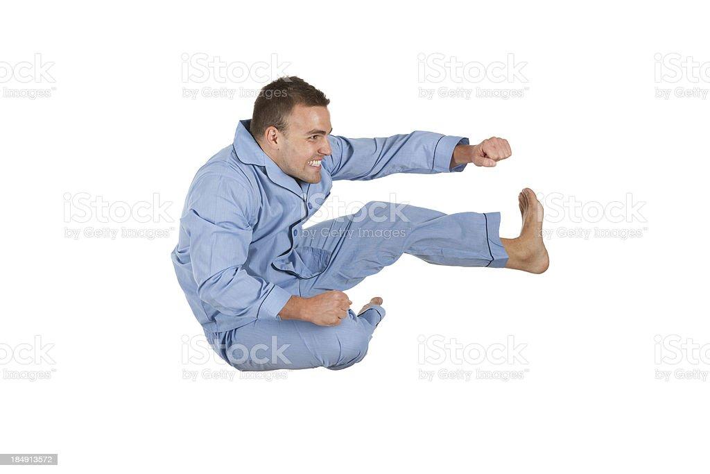 Man executing flying kick royalty-free stock photo