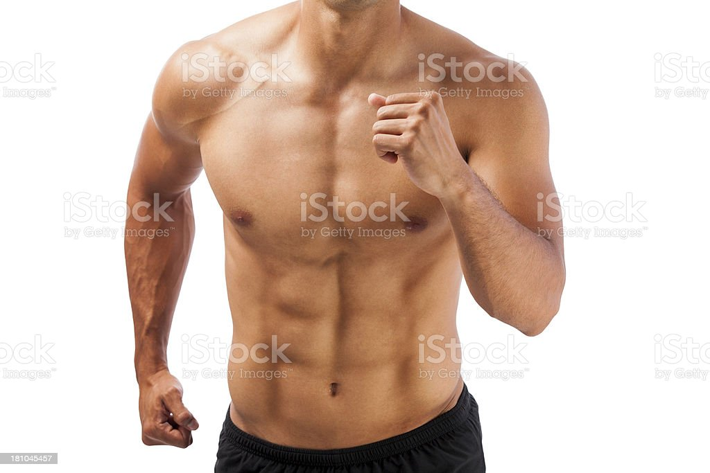 Man exercising and showing abs royalty-free stock photo