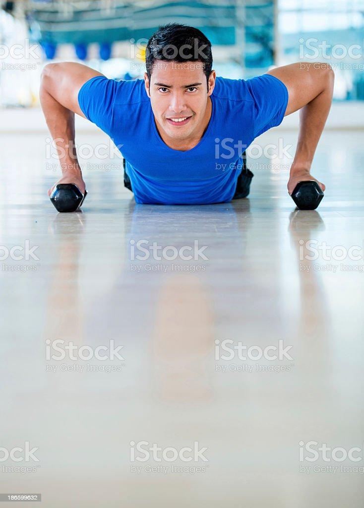 Man exercising at the gym royalty-free stock photo