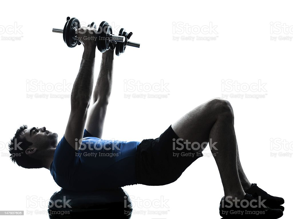 man exercising bosu weight training workout fitness posture royalty-free stock photo