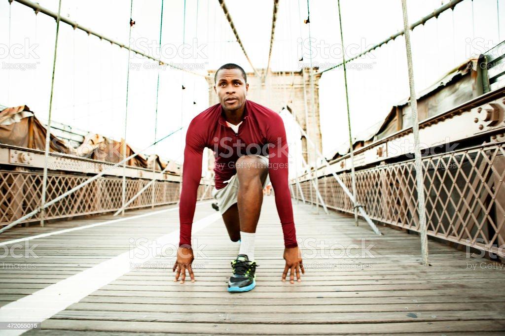 Man exercising in New York royalty-free stock photo