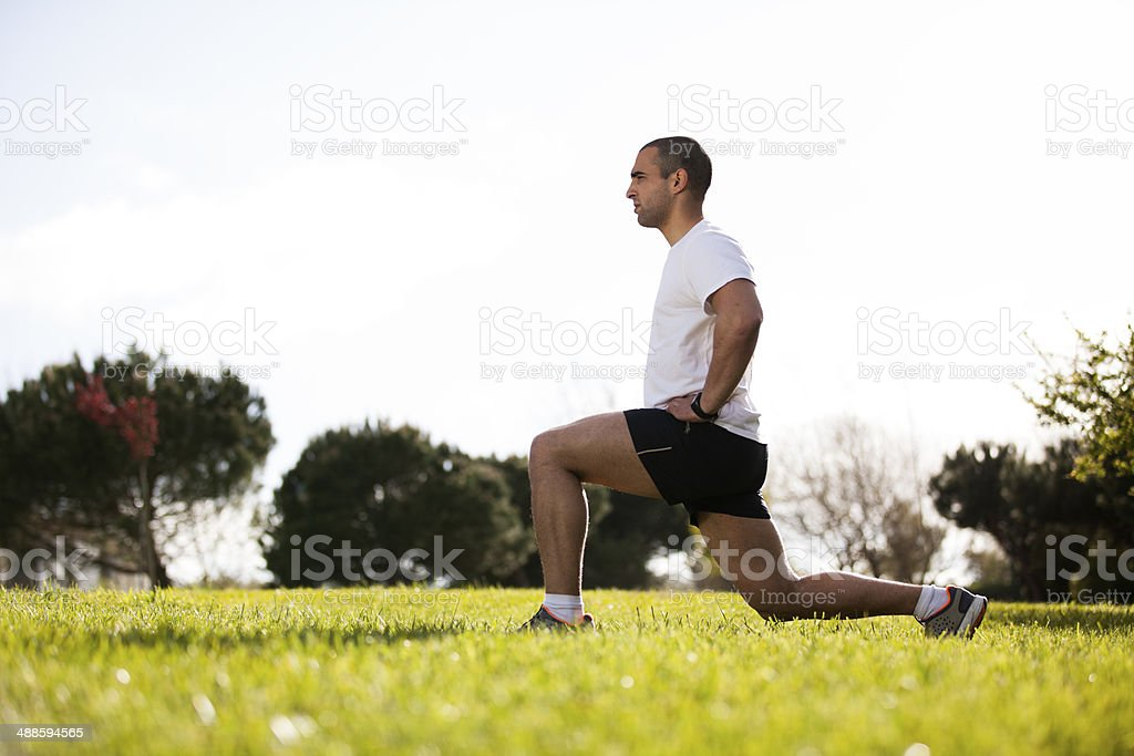 Man exercising in outdoor stock photo
