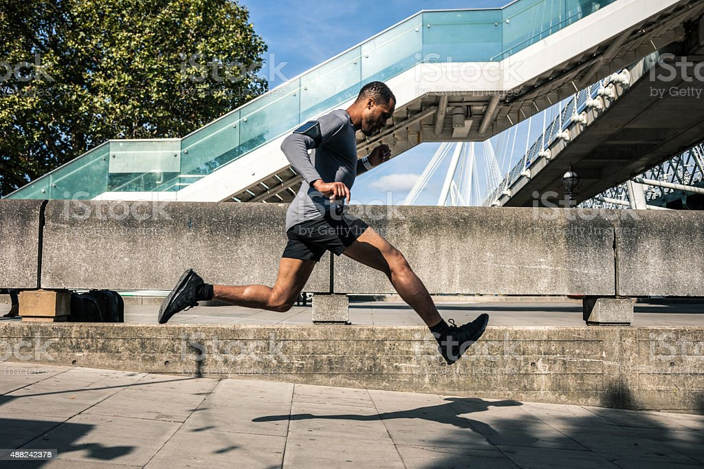Man exercising in the city stock photo