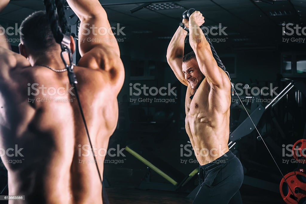 man exercising in trainer for triceps muscles in the gym stock photo