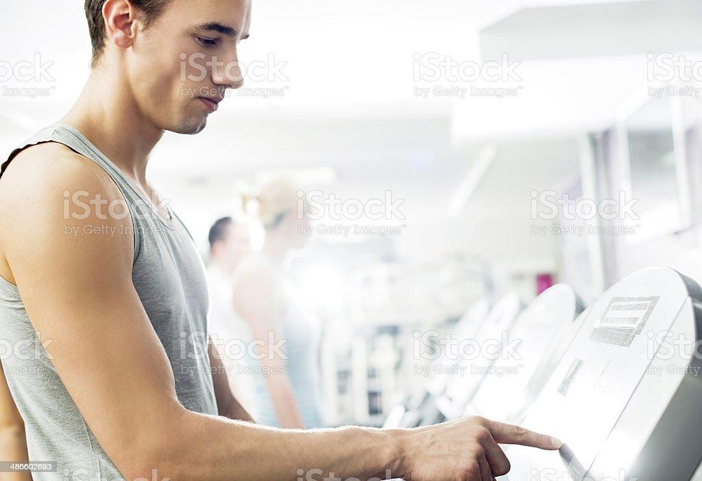 Man exercising on running track. royalty-free stock photo