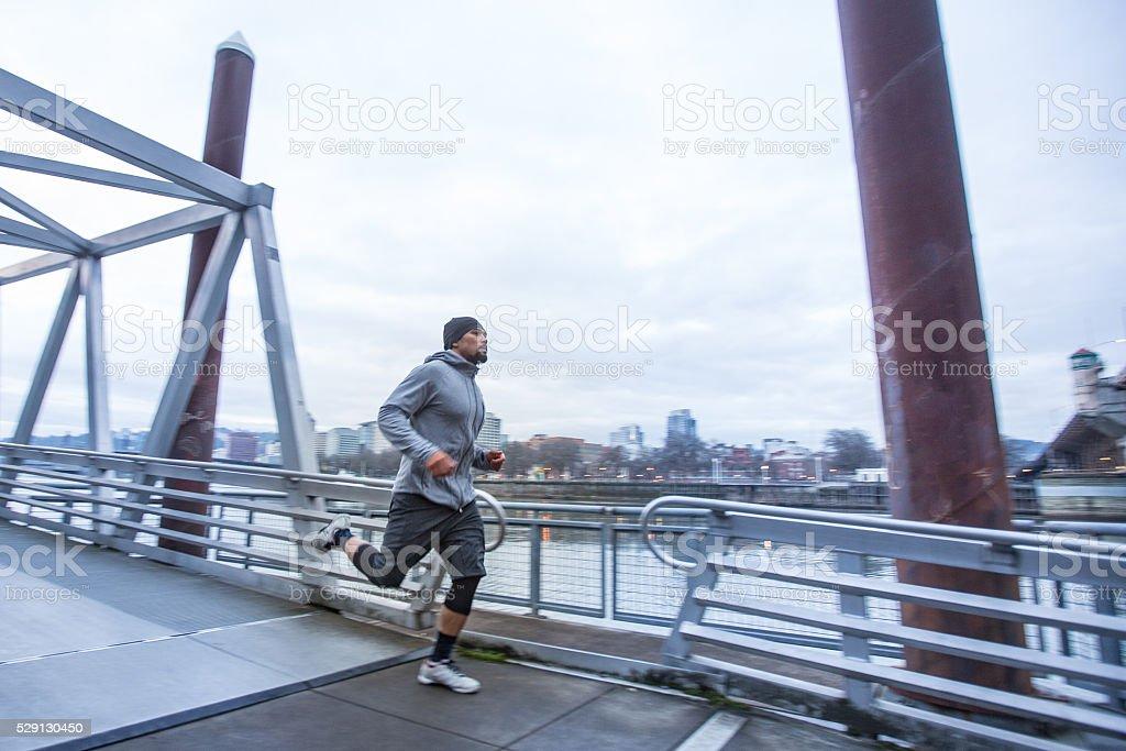 Man Exercising outdoors stock photo