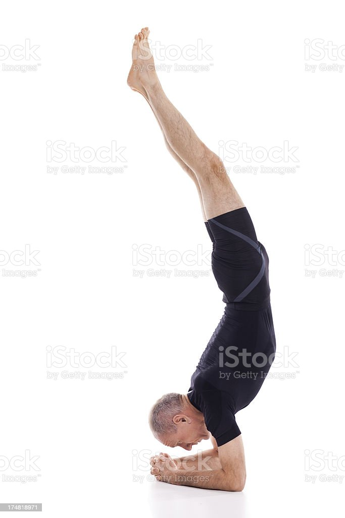 Man exercising yoga royalty-free stock photo