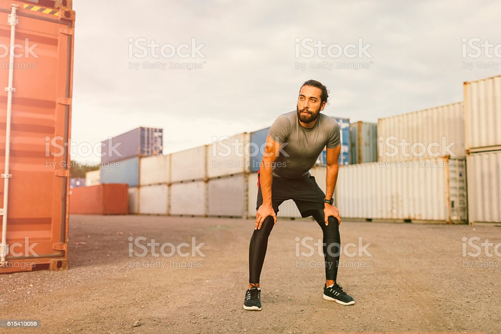 Man Exhaling After Running. stock photo
