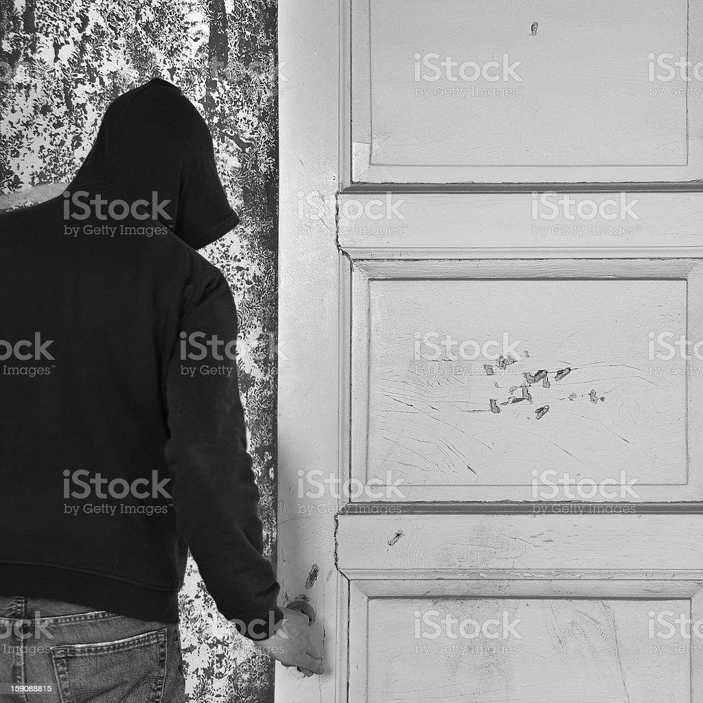 man exiting through door royalty-free stock photo