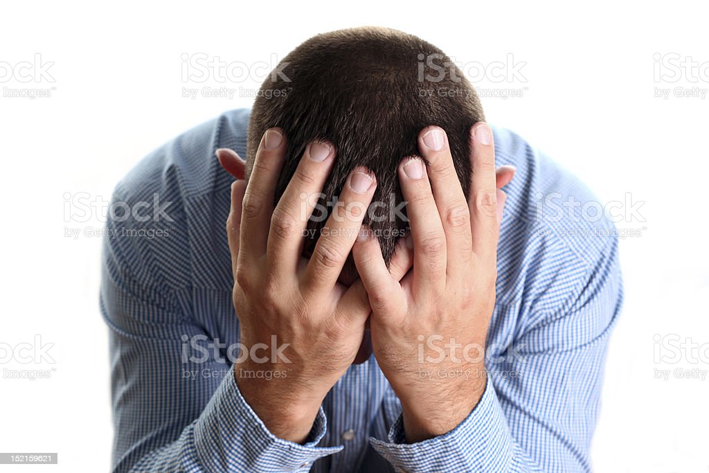 A man experiencing high levels of stress royalty-free stock photo
