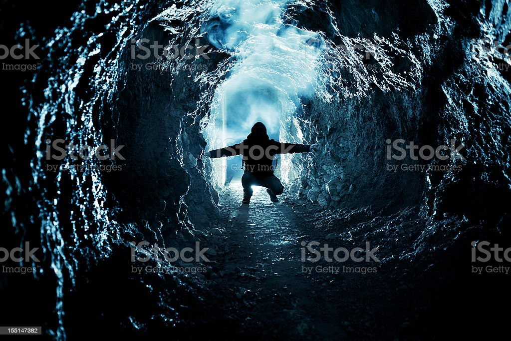 Man exploring old WWI bunker stock photo