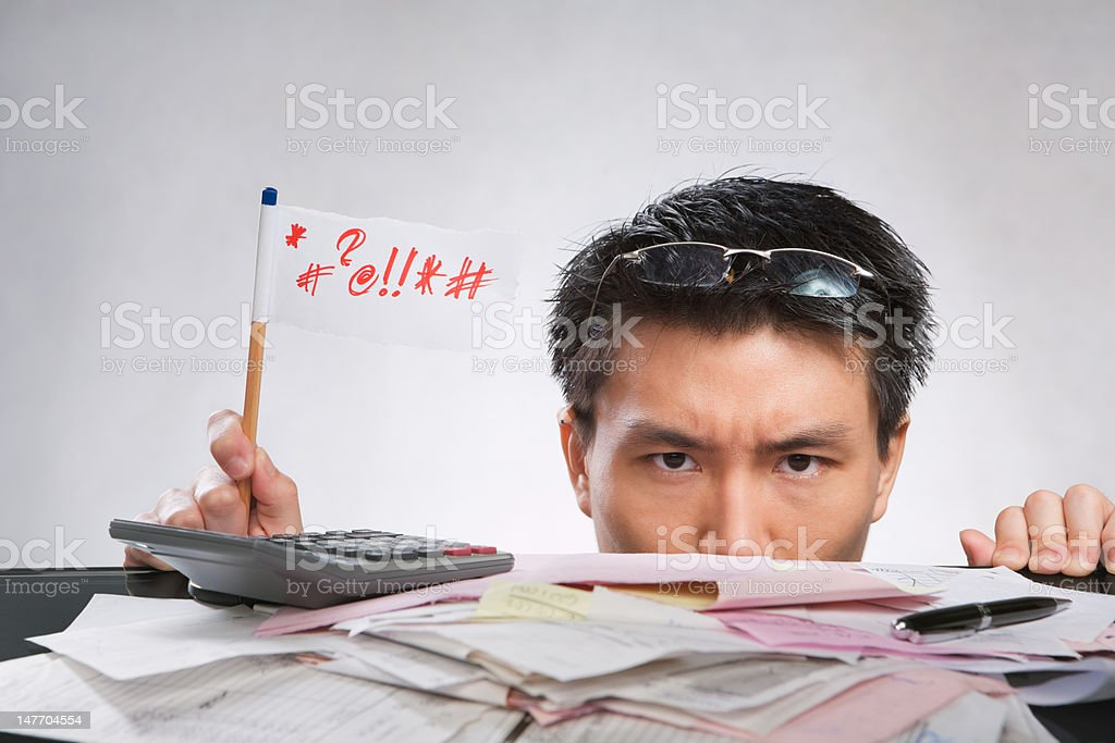 Man expressing her angry with flag royalty-free stock photo