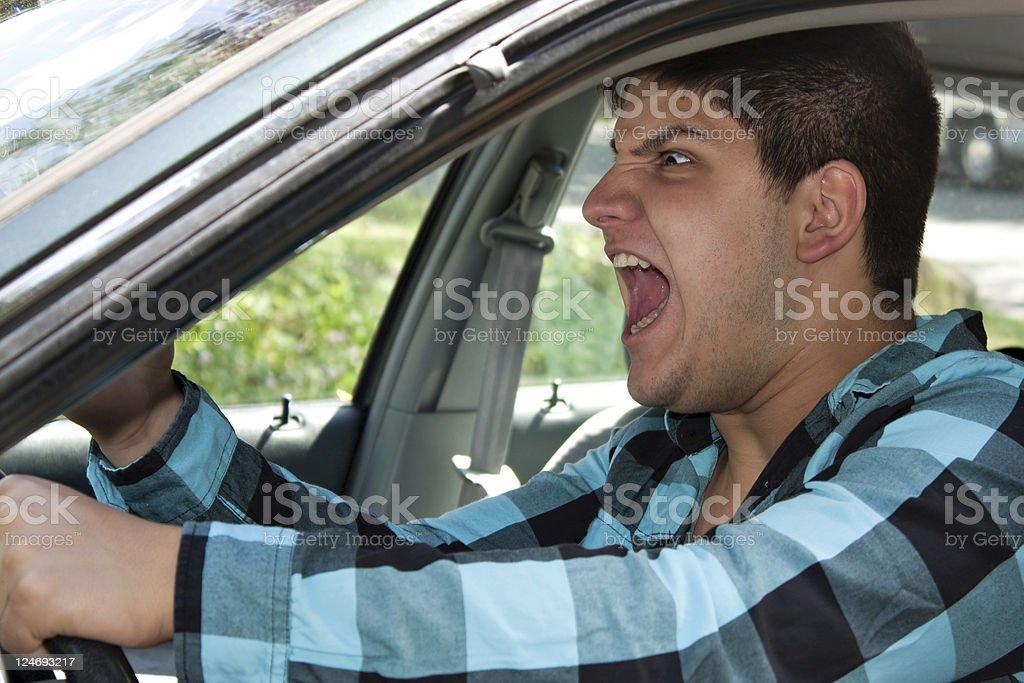 Man Expressing Road Rage stock photo