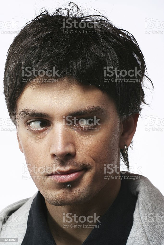 Man eyes look on side royalty-free stock photo