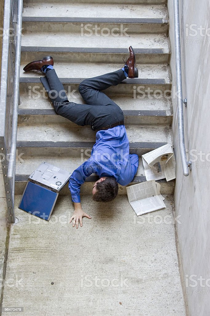 Man Falling Down Stairs stock photo