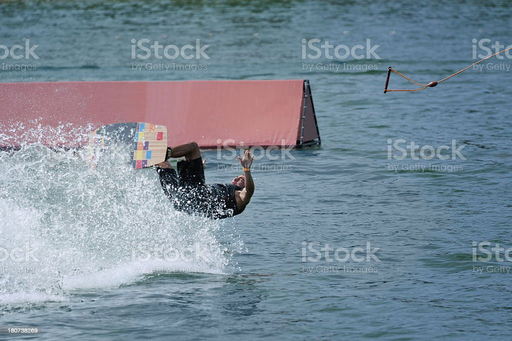 Man falling from wakeboard royalty-free stock photo