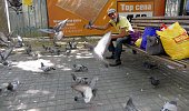 Man feeds birds and pigeons at the park