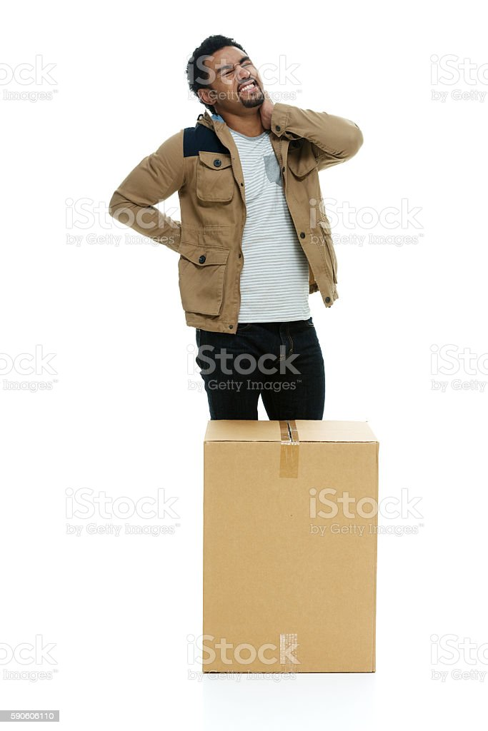 Man feeling back pain stock photo