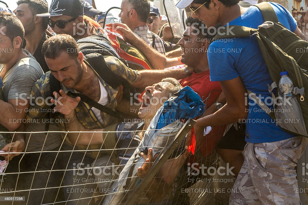Man fighting for life stock photo