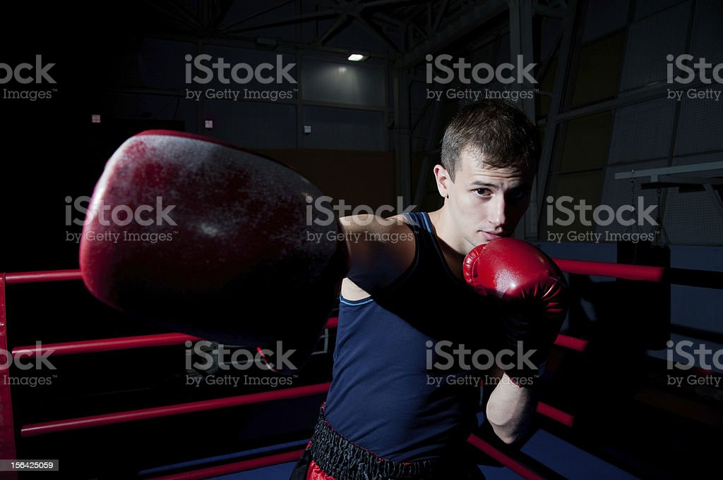Man fighting on the ring royalty-free stock photo