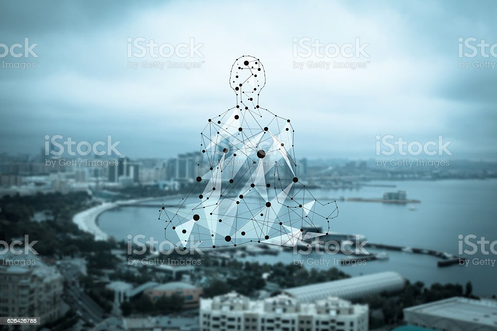 Man figure consisted of dots and lines stock photo