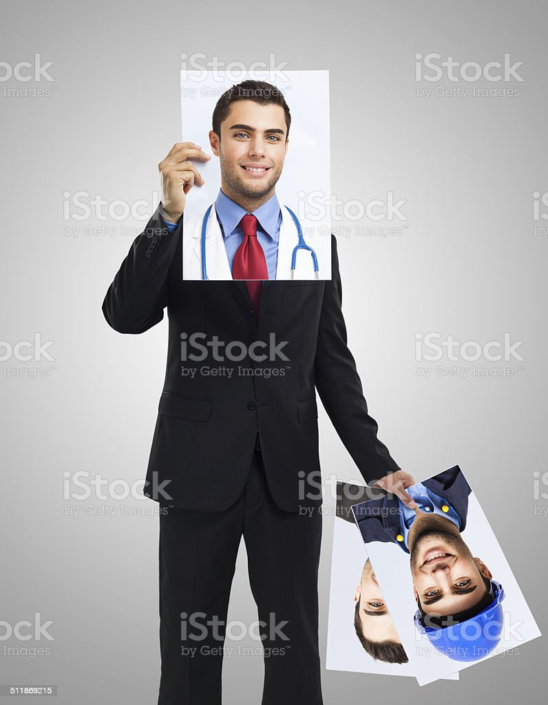 Man finding the right job stock photo