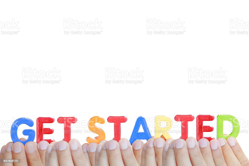 Man fingers showing 'GET STARTED' text on white background stock photo
