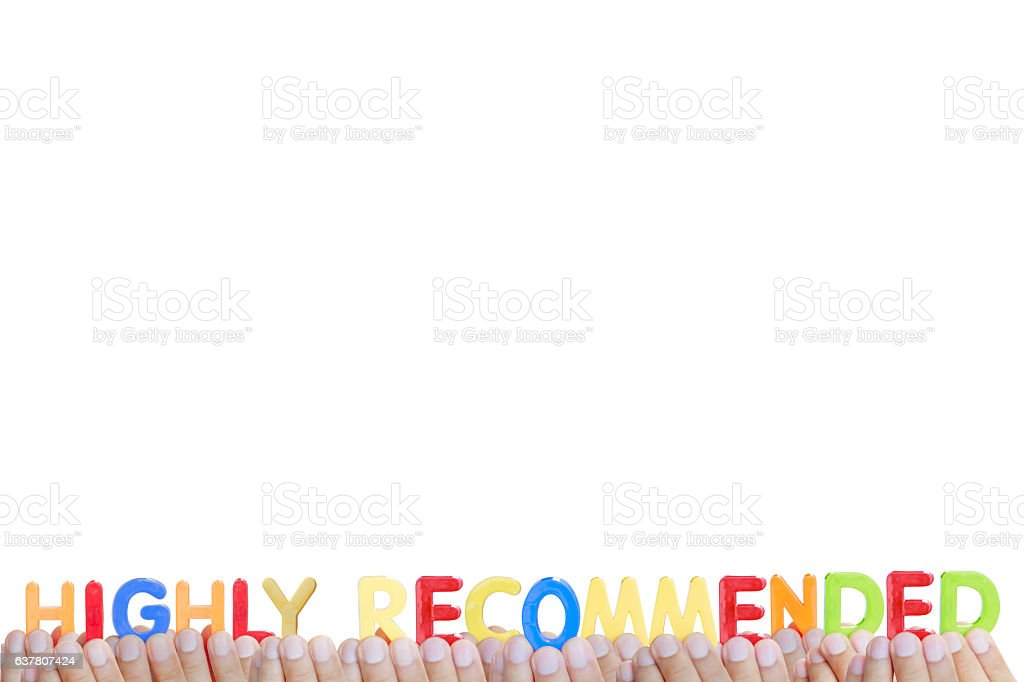 Man fingers showing 'HIGHLY RECOMMENDED' text on white backgroun stock photo