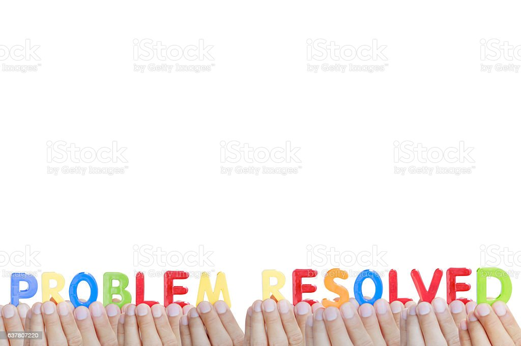 Man fingers showing 'PROBLEM RESOLVED' text on white background stock photo