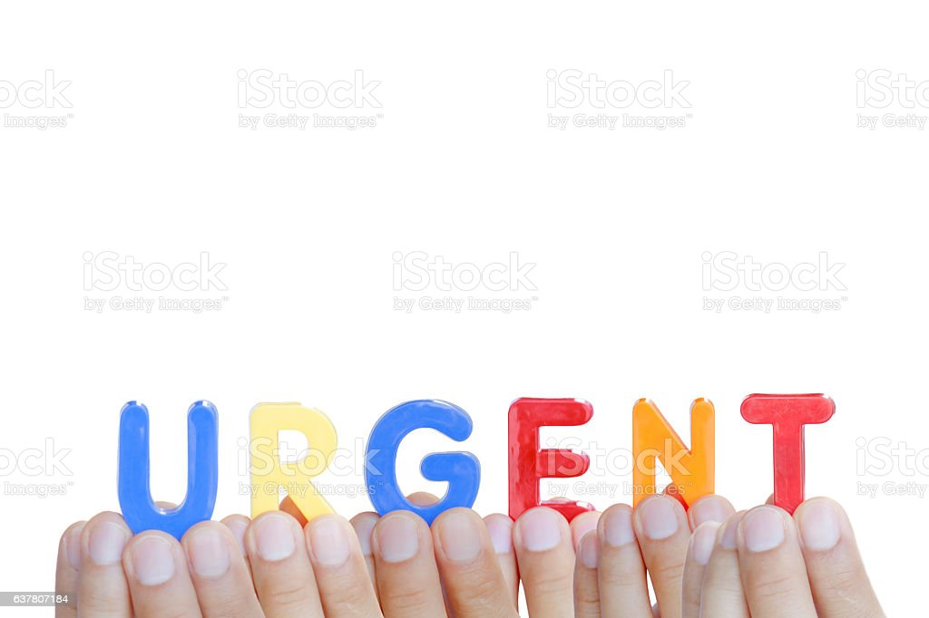 Man fingers showing 'URGENT' text on white background stock photo