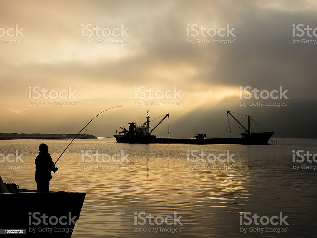 Man fishing royalty-free stock photo