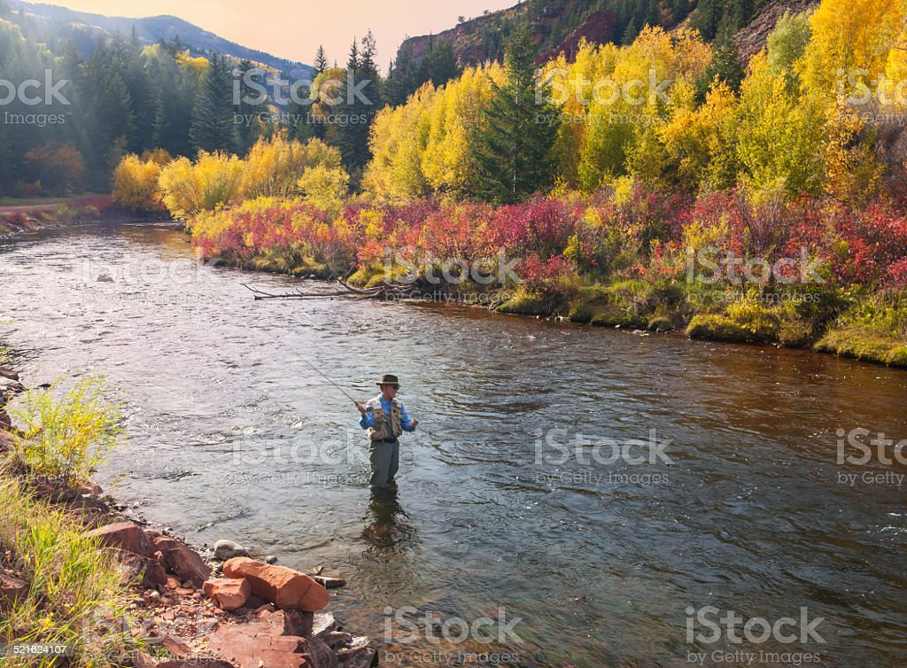 Man Fishing the Frying Pan River stock photo