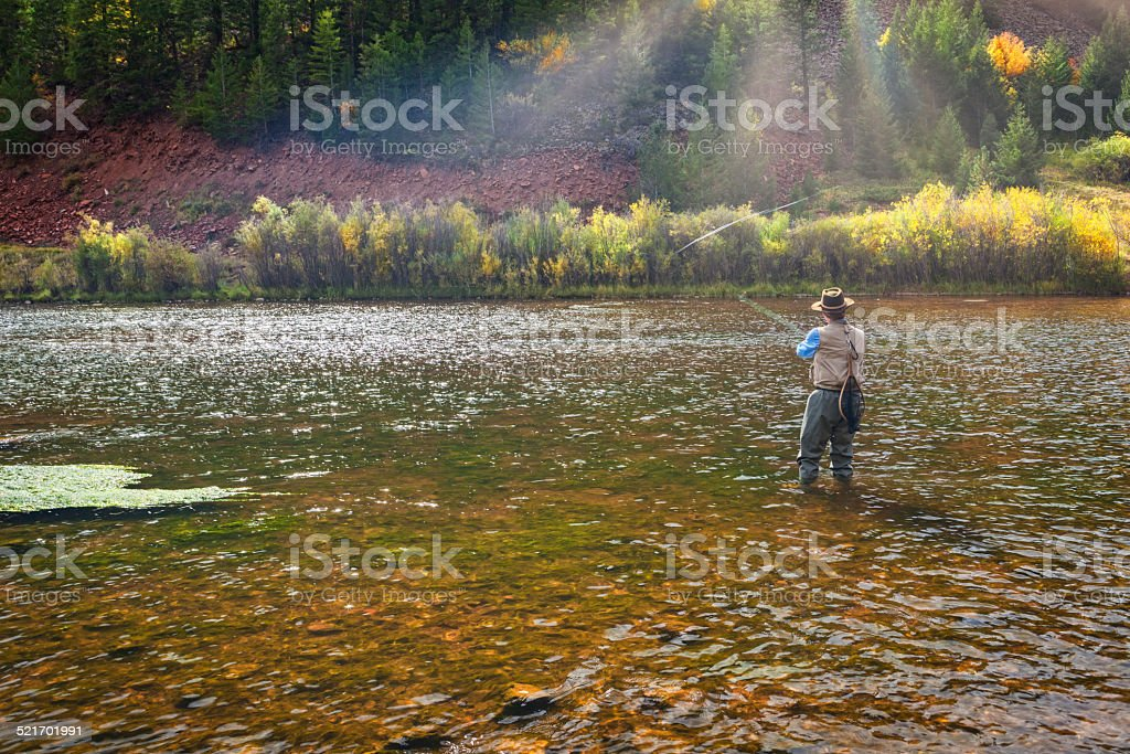 Man Fishing the Frying Pan River stock photo