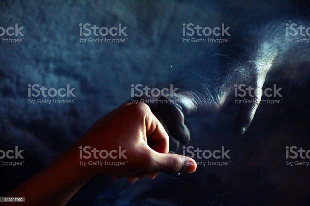 Man Fist Bumb With Monkey stock photo