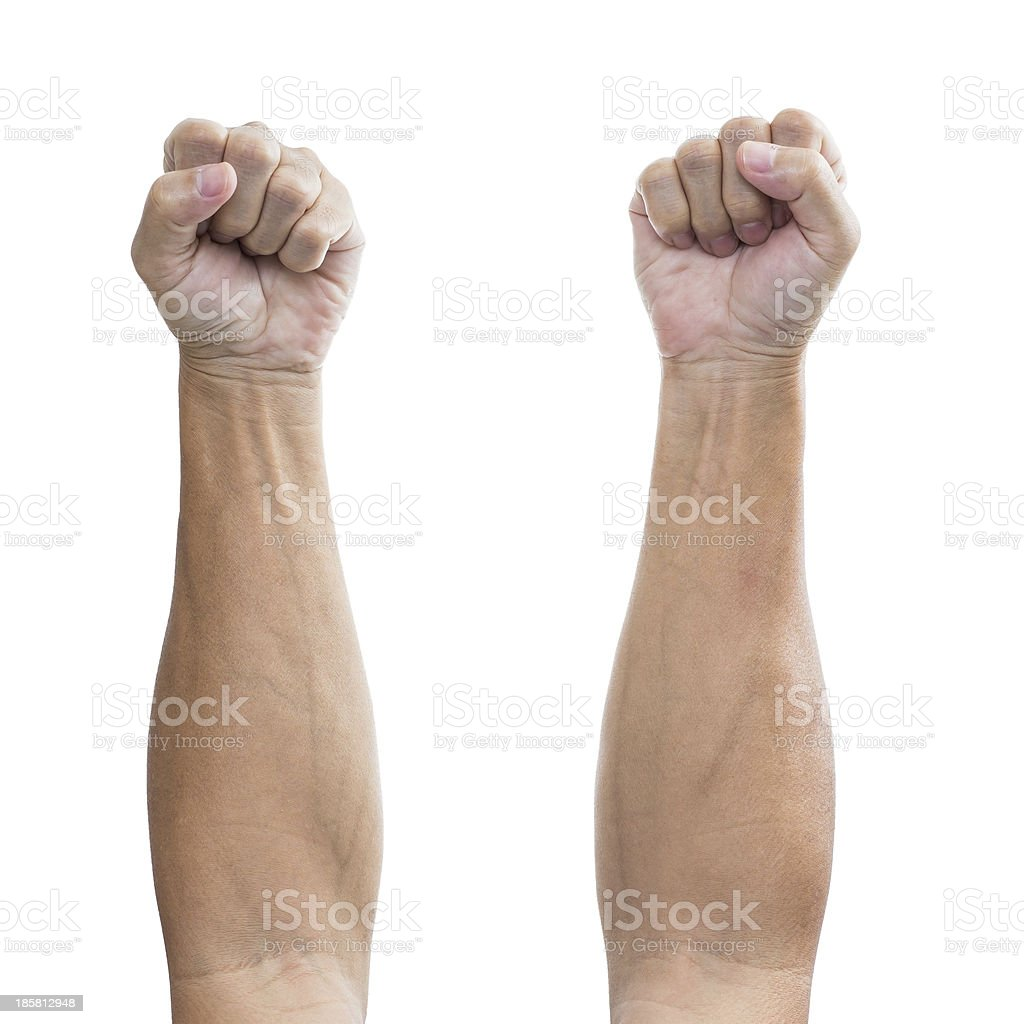 Man fist hands, isolated on a white background royalty-free stock photo