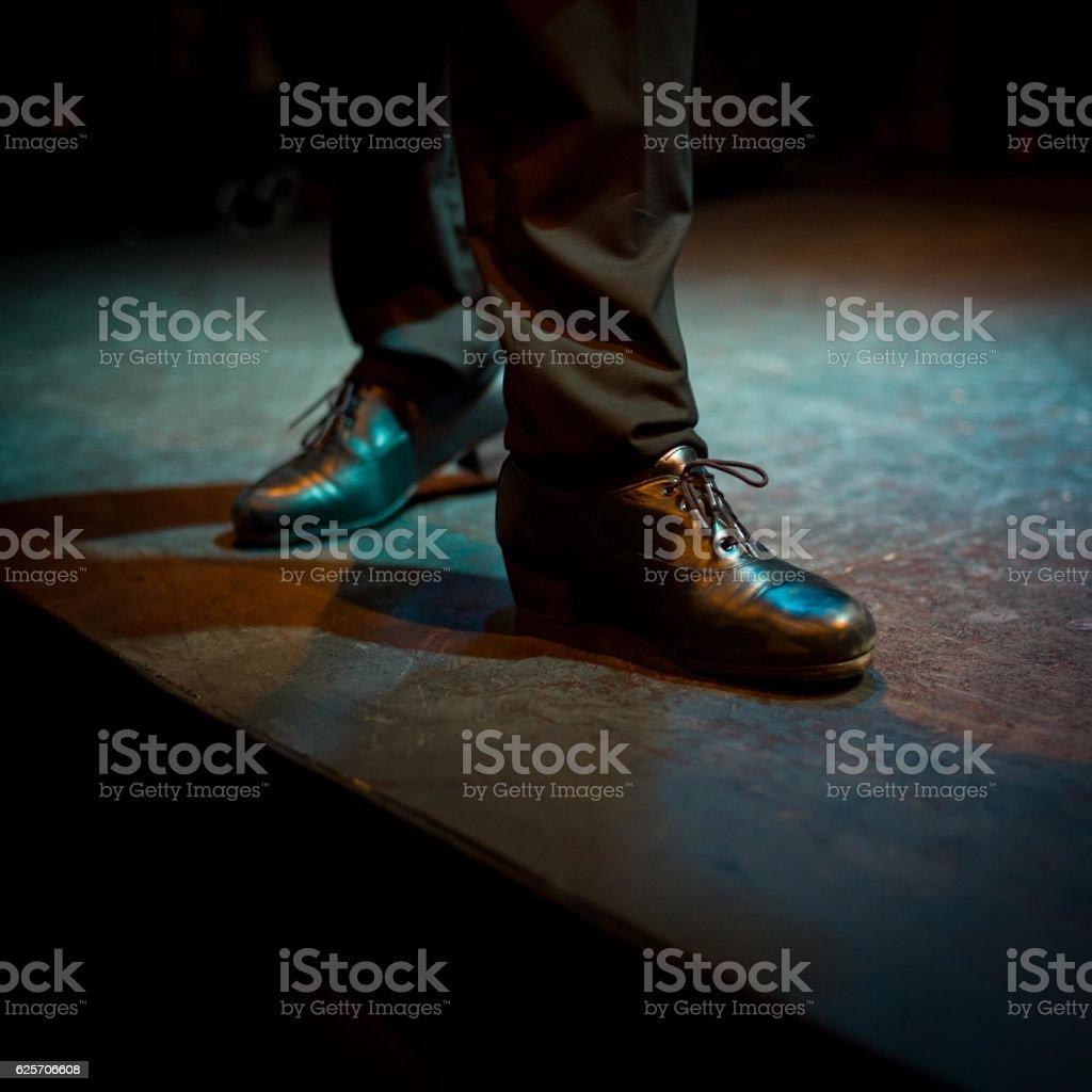 Man flamenco shoes stock photo