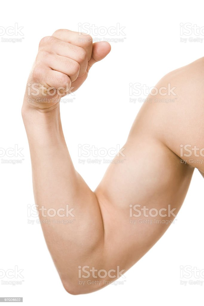 Man flexing his arm showing off muscles stock photo