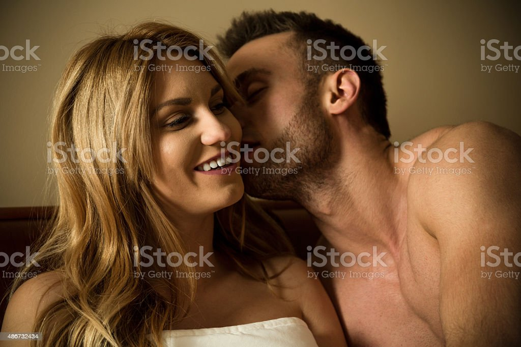 Man flirting with woman stock photo