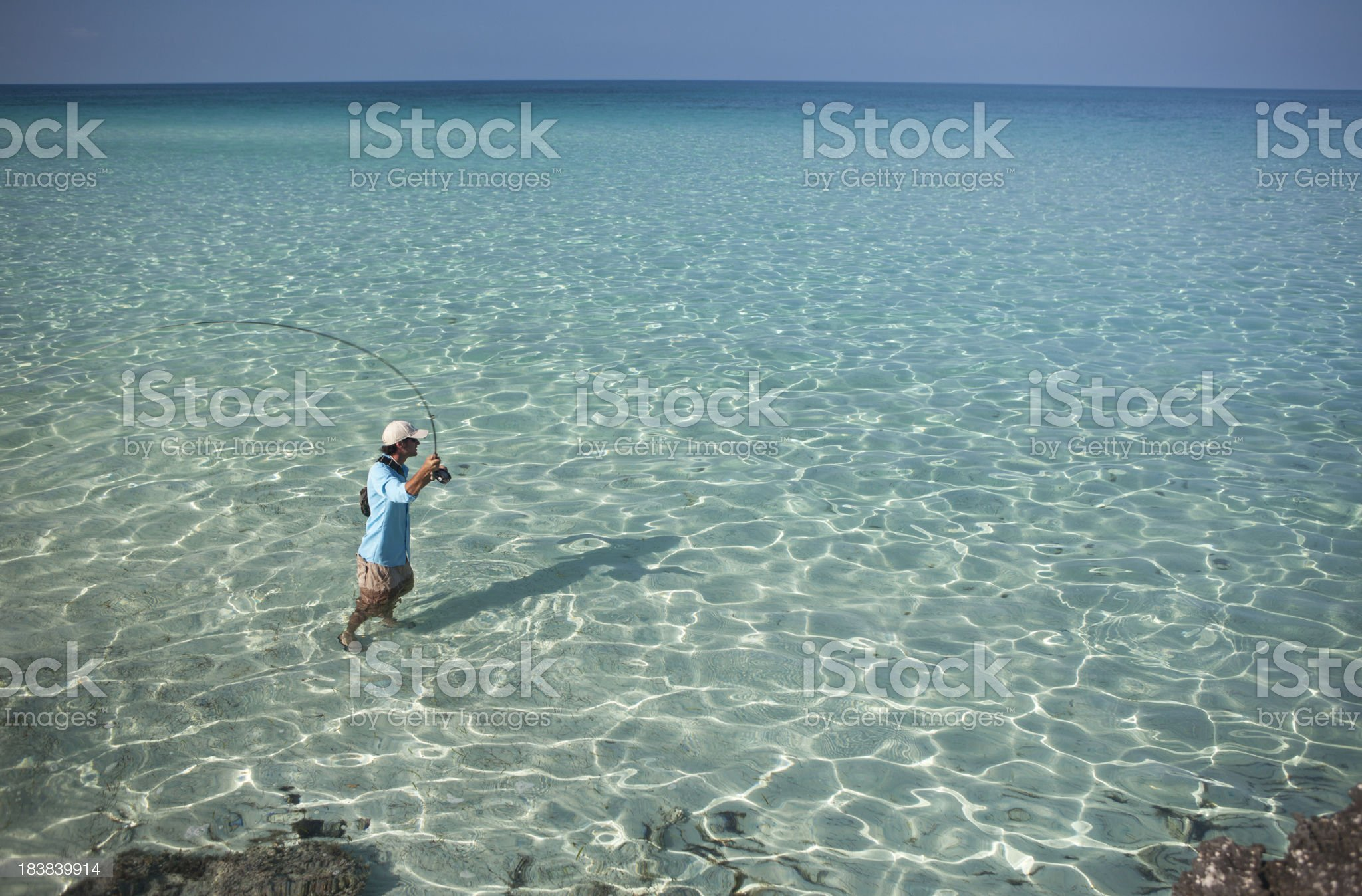 Man Fly Fishing for Bonefish in the Caribbean. royalty-free stock photo