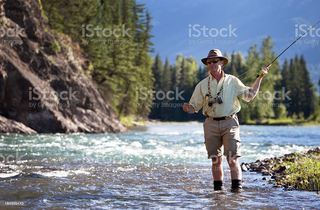 Man Fly Fishing For Trout on a British Columbia River. royalty-free stock photo
