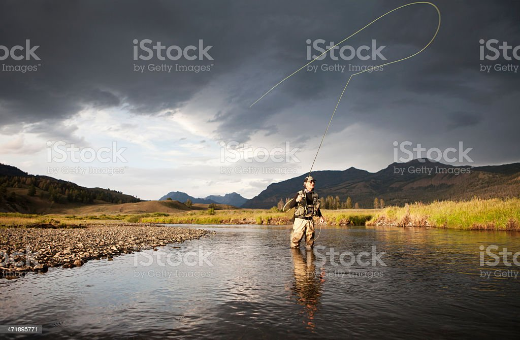 Man fly fishing knee deep in water stock photo