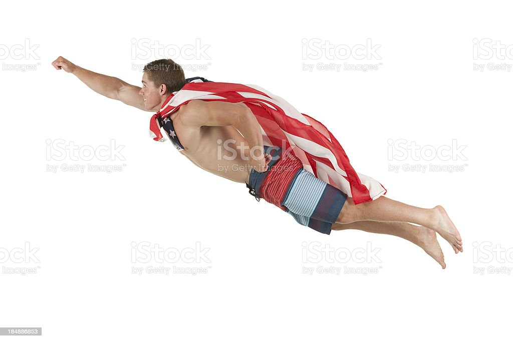Man flying in the air royalty-free stock photo