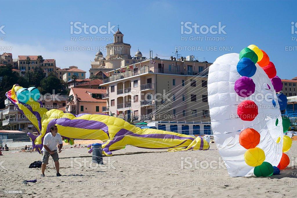 Man flying kite stock photo