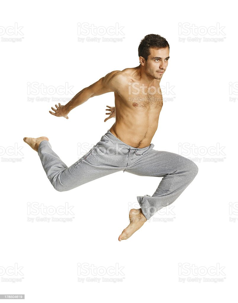 Man flying over white background royalty-free stock photo